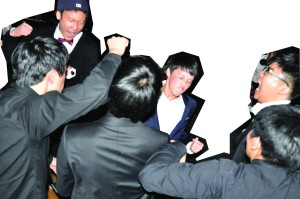 Josh Ryu, Nicholas Lee, Kelvin Lee, and Eric Kim join the dance and rock out to the music of 'Fade into Darkness' played by DJ Paul Nam.